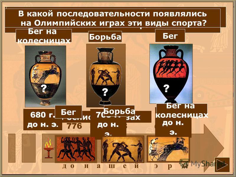д о нашей э р ы Какой вид источников нам рассказывает об Олимпийских играх? Росписи на вазах 776708 680 Бег Борьба Бег на колесницах 776 г. до н. э. 708 г. до н. э. 680 г. до н. э. Какие виды спорта были на Олимпийских играх? Назови их. ? ? ? В какой