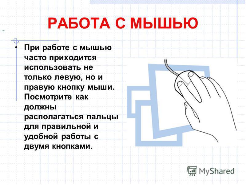 РАБОТА С МЫШЬЮ При работе с мышью часто приходится использовать не только левую, но и правую кнопку мыши. Посмотрите как должны располагаться пальцы для правильной и удобной работы с двумя кнопками..