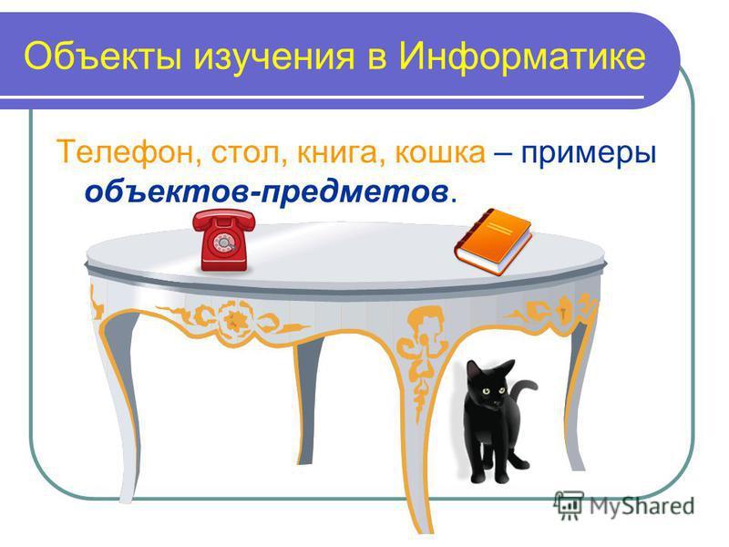 Объекты изучения в Информатике Телефон, стол, книга, кошка – примеры объектов-предметов.