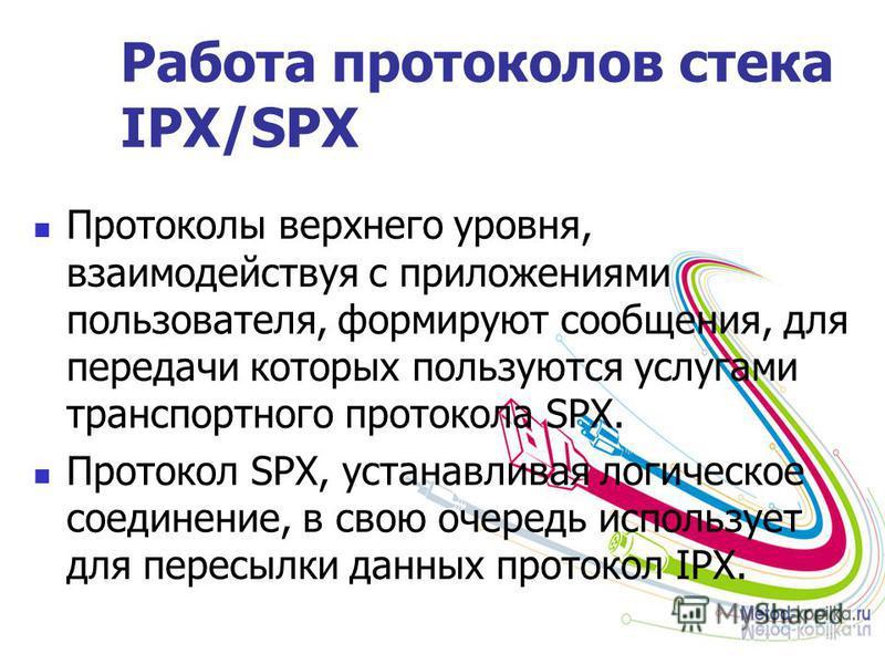 Работа протоколов стека IPX/SPX Протоколы верхнего уровня, взаимодействуя с приложениями пользователя, формируют сообщения, для передачи которых пользуются услугами транспортного протокола SPX. Протокол SPX, устанавливая логическое соединение, в свою