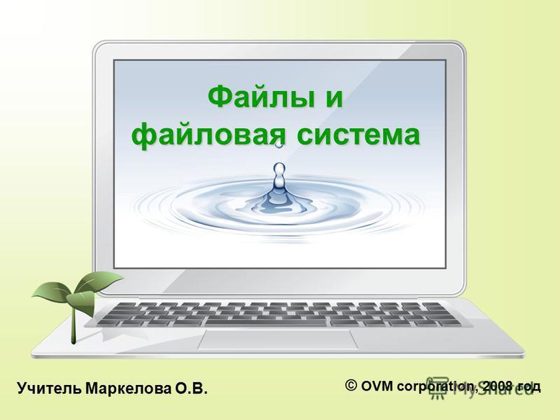 Файлы и файловая система Учитель Маркелова О.В. © OVM corporation, 2008 год