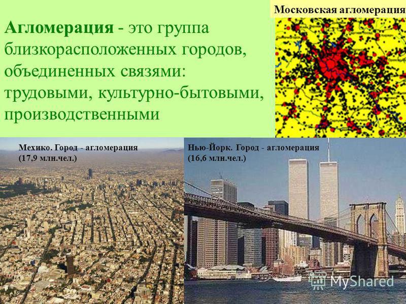 Агломерация - это группа близкорасположенных городов, объединенных связями: трудовыми, культурно-бытовыми, производственными Московская агломерация Мехико. Город - агломерация (17,9 млн.чел.) Нью-Йорк. Город - агломерация (16,6 млн.чел.)