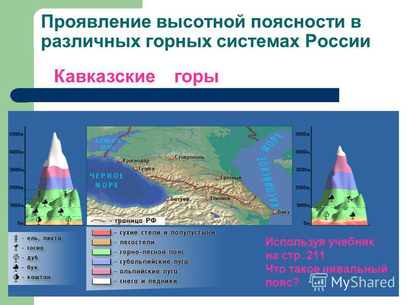 Проявление высотной поясности в различных горных системах России Кавказские горы Используя учебник на стр. 211 Что такое нивальный пояс?