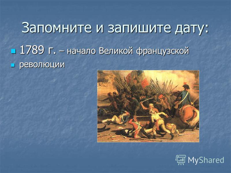 Запомните и запишите дату: 1789 г. – начало Великой французской 1789 г. – начало Великой французской революции революции