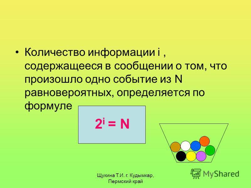 Щукина Т.И. г. Кудымкар, Пермский край Количество информации i, содержащееся в сообщении о том, что произошло одно событие из N равновероятных, определяется по формуле 2 i = N