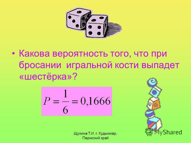 Щукина Т.И. г. Кудымкар, Пермский край Какова вероятность того, что при бросании игральной кости выпадет «шестёрка»?