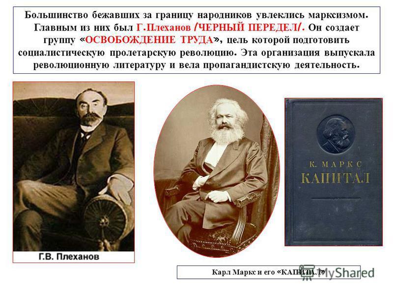 Большинство бежавших за границу народников увлеклись марксизмом. Главным из них был Г. Плеханов / ЧЕРНЫЙ ПЕРЕДЕЛ /. Он создает группу « ОСВОБОЖДЕНИЕ ТРУДА », цель которой подготовить социалистическую пролетарскую революцию. Эта организация выпускала