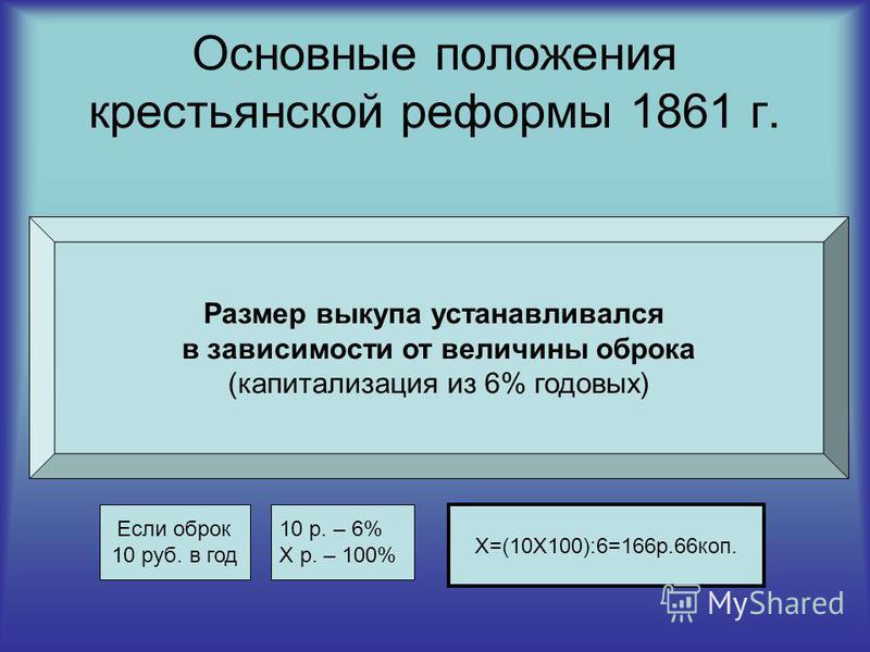 Основные положения крестьянской реформы 1861 г. Размер выкупа устанавливался в зависимости от величины оброка (капитализация из 6% годовых) Если оброк 10 руб. в год 10 р. – 6% Х р. – 100% Х=(10Χ100):6=166 р.66 коп.
