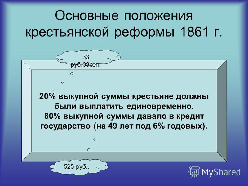 Основные положения крестьянской реформы 1861 г. 20% выкупной суммы крестьяне должны были выплатить единовременно. 80% выкупной суммы давало в кредит государство (на 49 лет под 6% годовых). 33 руб.33 коп. 525 руб..
