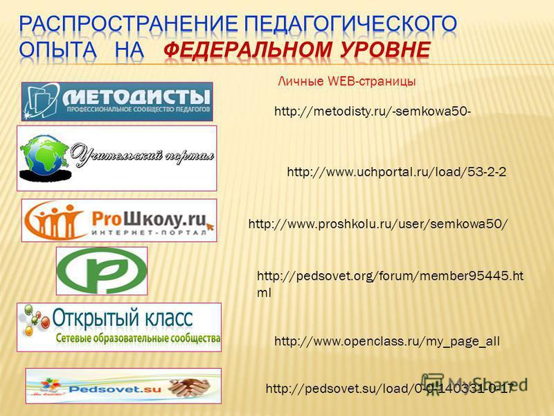 http://www.openclass.ru/my_page_all http://www.uchportal.ru/load/53-2-2 http://metodisty.ru/-semkowa50- http://www.proshkolu.ru/user/semkowa50/ http://pedsovet.su/load/0-0-140331-0-17 http://pedsovet.org/forum/member95445. ht ml Личные WEB-страницы
