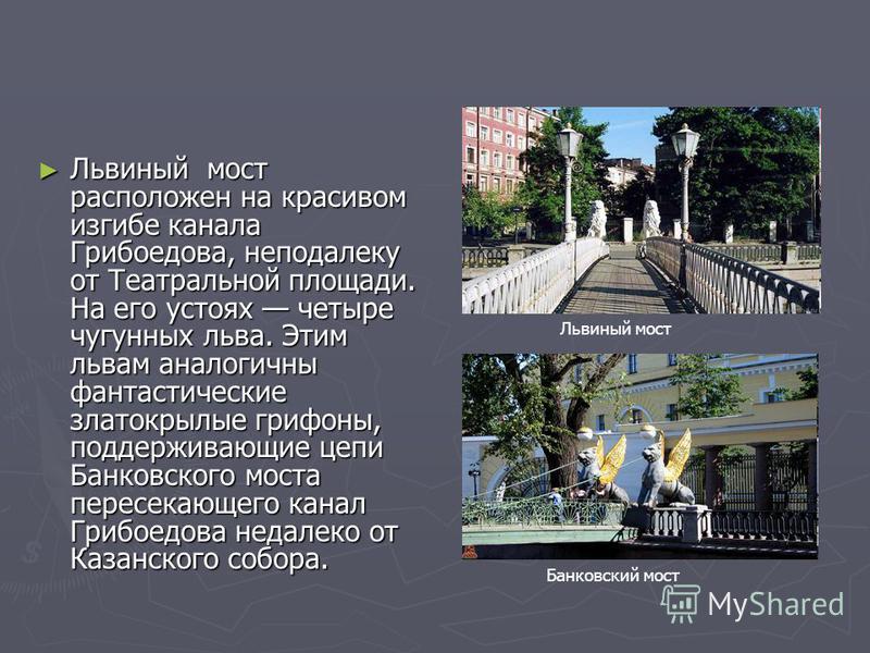 Львиный мост расположен на красивом изгибе канала Грибоедова, неподалеку от Театральной площади. На его устоях четыре чугунных льва. Этим львам аналогичны фантастические златокрылые грифоны, поддерживающие цепи Банковского моста пересекающего канал Г