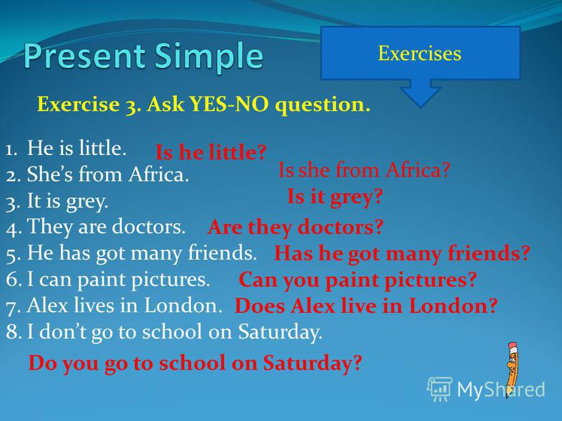 Exercises Exercise 3. Ask YES-NO question. 1.He is little. 2.Shes from Africa. 3.It is grey. 4.They are doctors. 5.He has got many friends. 6.I can paint pictures. 7.Alex lives in London. 8.I dont go to school on Saturday. Is he little? Is she from A