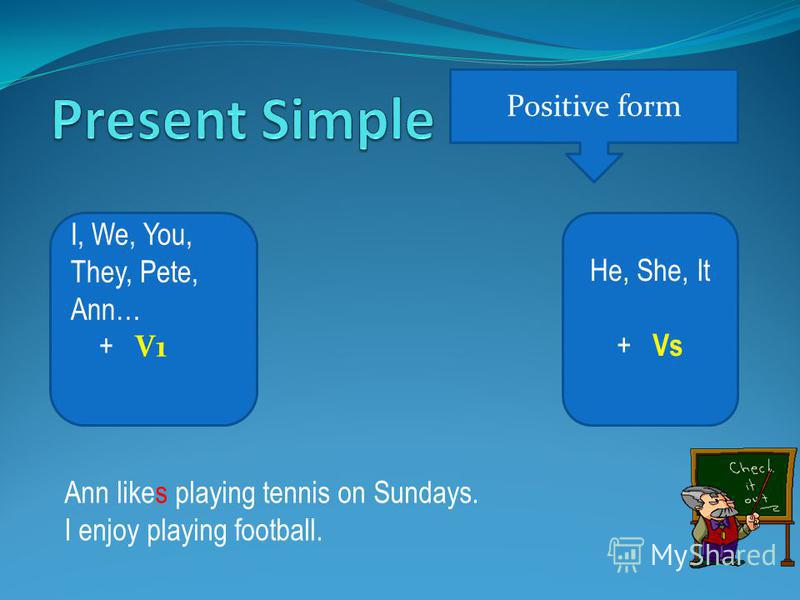 Positive form He, She, It + Vs I, We, You, They, Pete, Ann… + V1 Ann likes playing tennis on Sundays. I enjoy playing football.