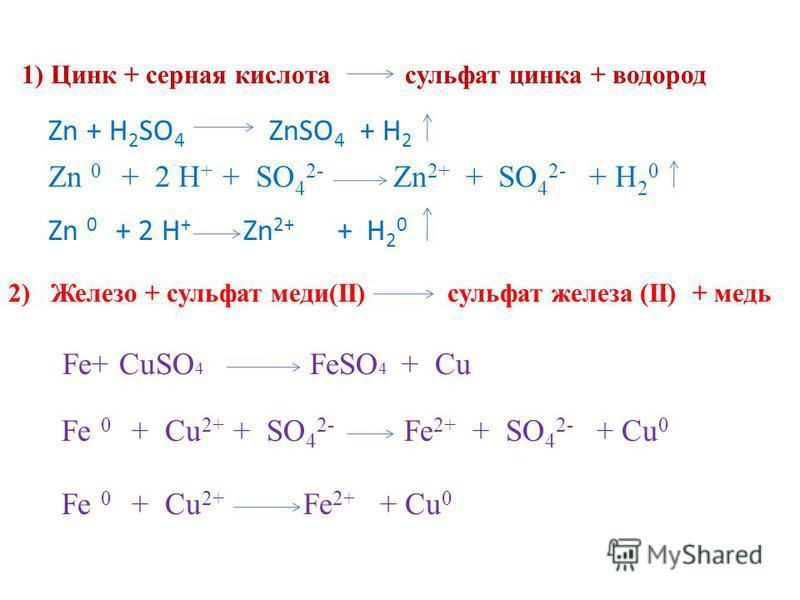1) Цинк + серная кислота сульфат цинка + водород Zn 0 + 2 H + + SO 4 2- Zn 2+ + SO 4 2- + H 2 0 Zn 0 + 2 H + Zn 2+ + H 2 0 Zn + H 2 SO 4 ZnSO 4 + H 2 2) Железо + сульфат меди(II) сульфат железа (II) + медь Fe+ CuSO 4 FeSO 4 + Cu Fe 0 + Cu 2+ + SO 4 2