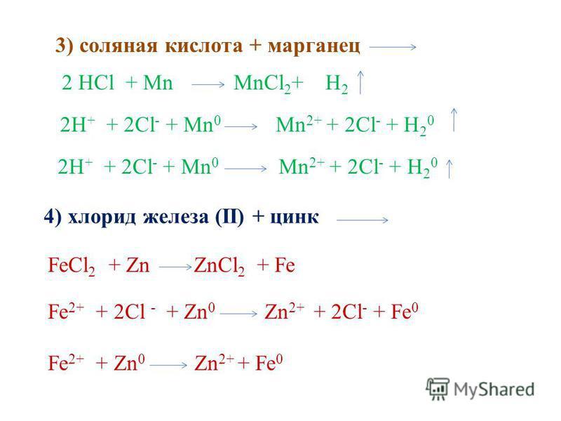 3) соляная кислота + марганец 2 HCl + Mn MnCl 2 + H 2 2H + + 2Cl - + Mn 0 Mn 2+ + 2Cl - + H 2 0 4) хлорид железа (II) + цинк FeCl 2 + Zn ZnCl 2 + Fe Fe 2+ + 2Cl - + Zn 0 Zn 2+ + 2Cl - + Fe 0 Fe 2+ + Zn 0 Zn 2+ + Fe 0