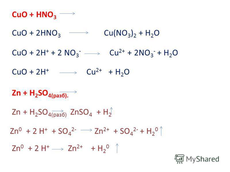 CuO + HNO 3 CuO + 2HNO 3 Cu(NO 3 ) 2 + H 2 O CuO + 2H + + 2 NO 3 - Cu 2+ + 2NO 3 - + H 2 O CuO + 2H + Cu 2+ + H 2 O Zn + H 2 SO 4(раза). Zn + H 2 SO 4(раза) ZnSO 4 + H 2 Zn 0 + 2 H + + SO 4 2- Zn 2+ + SO 4 2- + H 2 0 Zn 0 + 2 H + Zn 2+ + H 2 0
