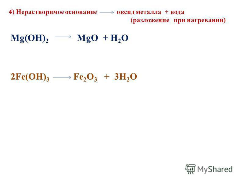 4) Нерастворимое основание оксид металла + вода (разложение при нагревании) Mg(OH) 2 MgO + H 2 O 2Fe(OH) 3 Fe 2 O 3 + 3H 2 O