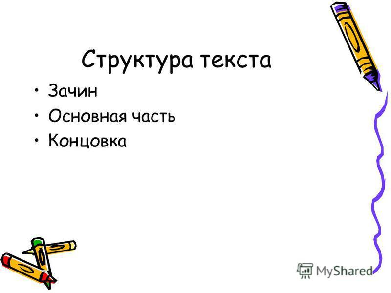 Структура текста Зачин Основная часть Концовка