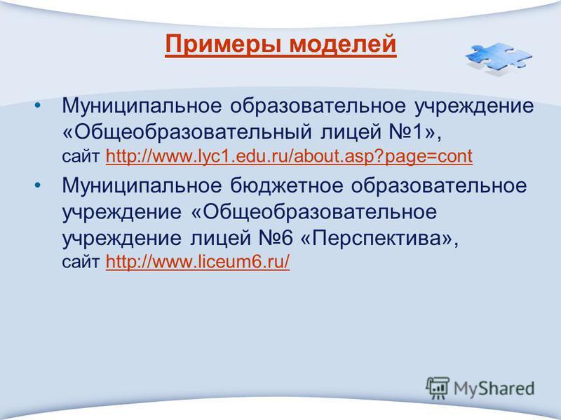 Примеры моделей Муниципальное образовательное учреждение «Общеобразовательный лицей 1», сайт http://www.lyc1.edu.ru/about.asp?page=conthttp://www.lyc1.edu.ru/about.asp?page=cont Муниципальное бюджетное образовательное учреждение «Общеобразовательное