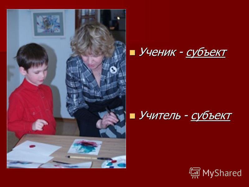 Ученик - субъект Ученик - субъект Учитель - субъект Учитель - субъект