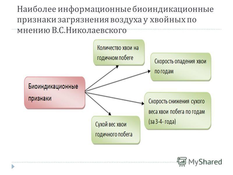 Наиболее информационные биоиндикационные признаки загрязнения воздуха у хвойных по мнению В. С. Николаевского