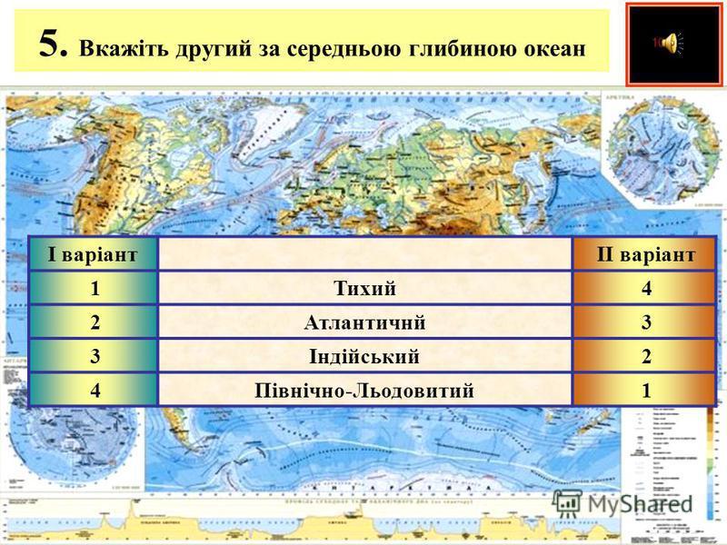4. Назвіть океан, який розташований в найменшій кількості кліматичних поясів І варіант ІІ варіант 1Тихий 4 2Атлантичнй 3 3Індійський 2 4Північно-Льодовитий 1
