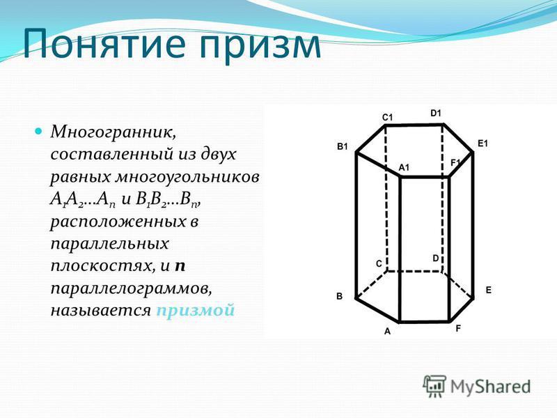 Понятие призм Многогранник, составленный из двух равных многоугольников A 1 A 2 …A n и B 1 B 2 …B n, расположенных в параллельных плоскостях, и n параллелограммов, называется призмой