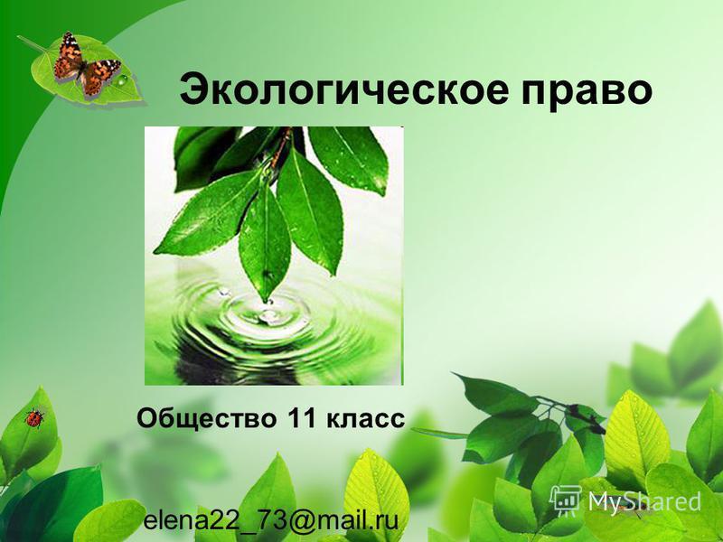 Экологическое право Общество 11 класс elena22_73@mail.ru