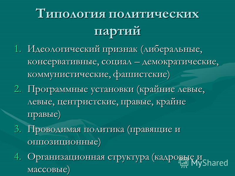 Типология политических партий 1. Идеологический признак (либеральные, консервативные, социал – демократические, коммунистические, фашистские) 2. Программные установки (крайние левые, левые, центристские, правые, крайне правые) 3. Проводимая политика