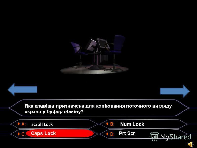Scroll Lock Яка клавіша призначена для копіювання поточного вигляду екрана у буфер обміну ? Caps Lock Num Lock Prt Scr