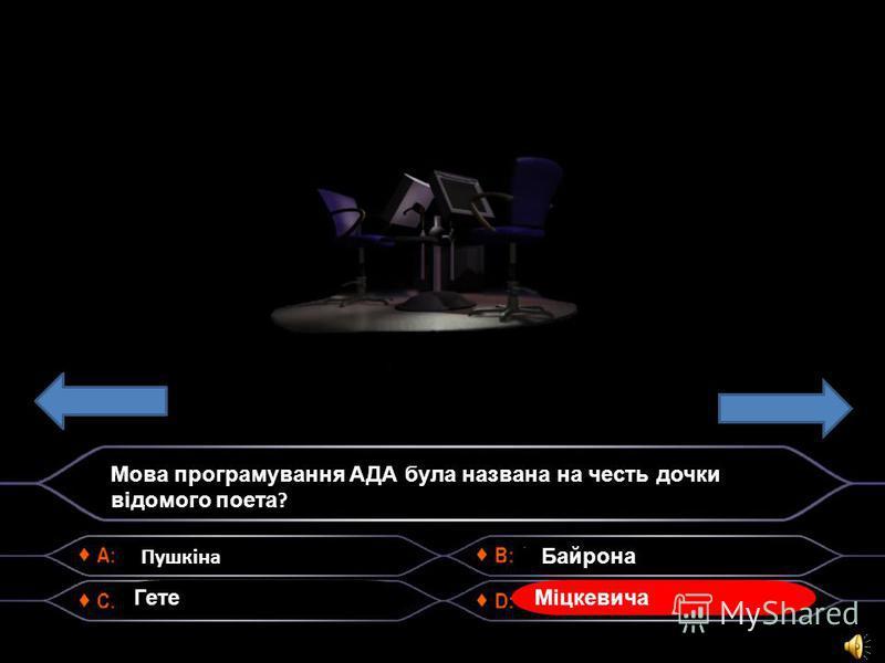 Пушкіна Мова програмування АДА була названа на честь дочки відомого поета ? Гете Байрона Міцкевича