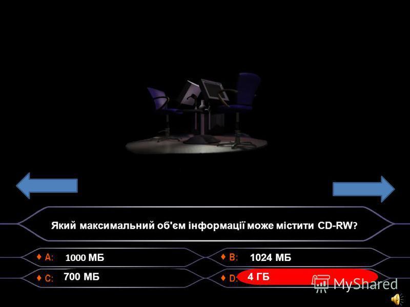 1000 МБ 700 МБ 1024 МБ 4 ГБ Який максимальний об'єм інформації може містити CD-RW ?