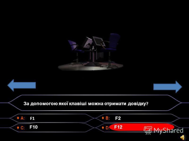 F1 F10 F2 F12 За допомогою якої клавіші можна отримати довідку ?