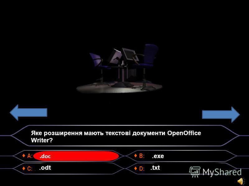 .doc Яке розширення мають текстові документи OpenOffice Writer?.odt.exe.txt