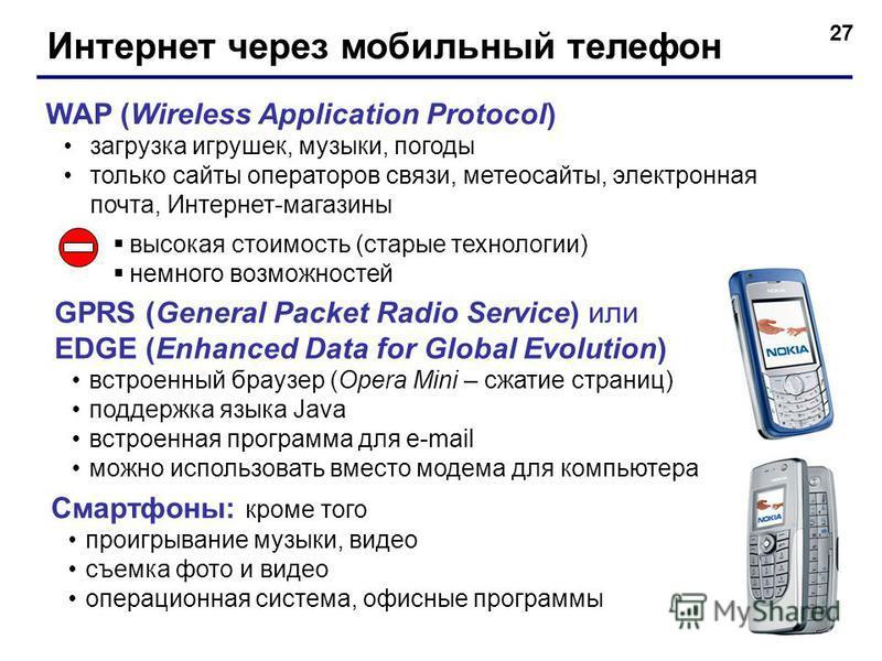 27 Интернет через мобильный телефон WAP (Wireless Application Protocol) загрузка игрушек, музыки, погоды только сайты операторов связи, метеосайты, электронная почта, Интернет-магазины высокая стоимость (старые технологии) немного возможностей GPRS (