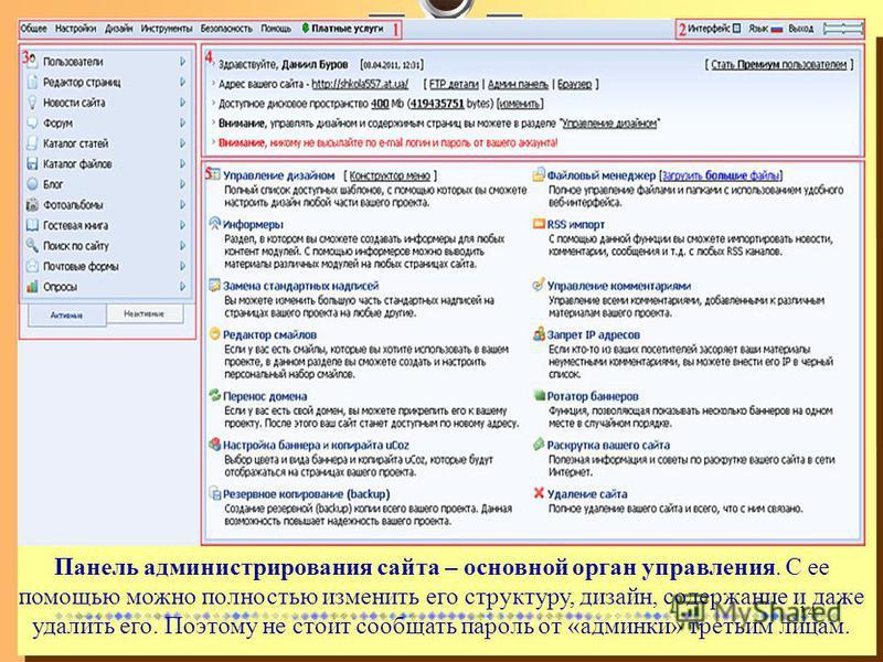 14 Панель администрирования сайта – основной орган управления. С ее помощью можно полностью изменить его структуру, дизайн, содержание и даже удалить его. Поэтому не стоит сообщать пароль от «админки» третьим лицам.