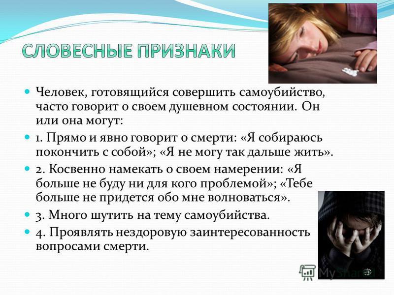 Человек, готовящийся совершить самоубийство, часто говорит о своем душевном состоянии. Он или она могут: 1. Прямо и явно говорит о смерти: «Я собираюсь покончить с собой»; «Я не могу так дальше жить». 2. Косвенно намекать о своем намерении: «Я больше