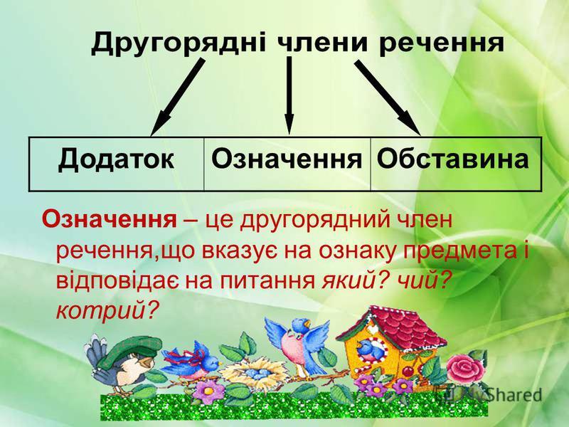 Означення – це другорядний член речення,що вказує на ознаку предмета і відповідає на питання який? чий? котрий? ДодатокОзначенняОбставина