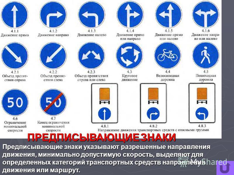 ПРЕДПИСЫВАЮЩИЕ ЗНАКИ Предписывающие знаки указывают разрешенные направления движения, минимально допустимую скорость, выделяют для определенных категорий транспортных средств направления движения или маршрут.