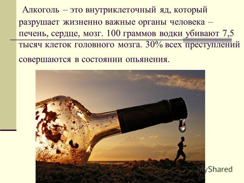 Алкоголь – это внутриклеточный яд, который разрушает жизненно важные органы человека – печень, сердце, мозг. 100 граммов водки убивают 7,5 тысяч клеток головного мозга. 30% всех преступлений совершаются в состоянии опьянения.