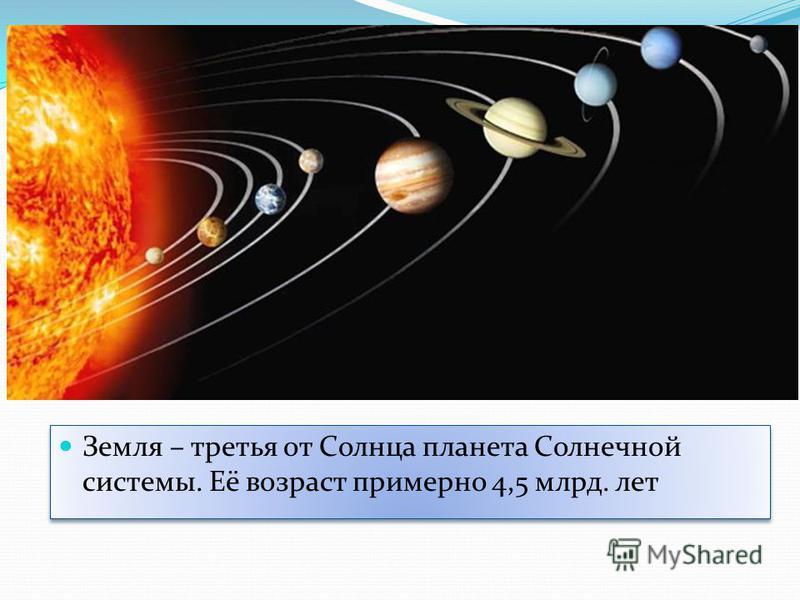 Земля – третья от Солнца планета Солнечной системы. Её возраст примерно 4,5 млрд. лет