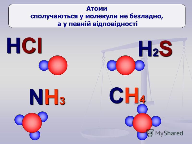 HCl H2SH2SH2SH2S NH3NH3NH3NH3 CH4CH4CH4CH4 Атоми сполучаються у молекули не безладно, а у певній відповідності