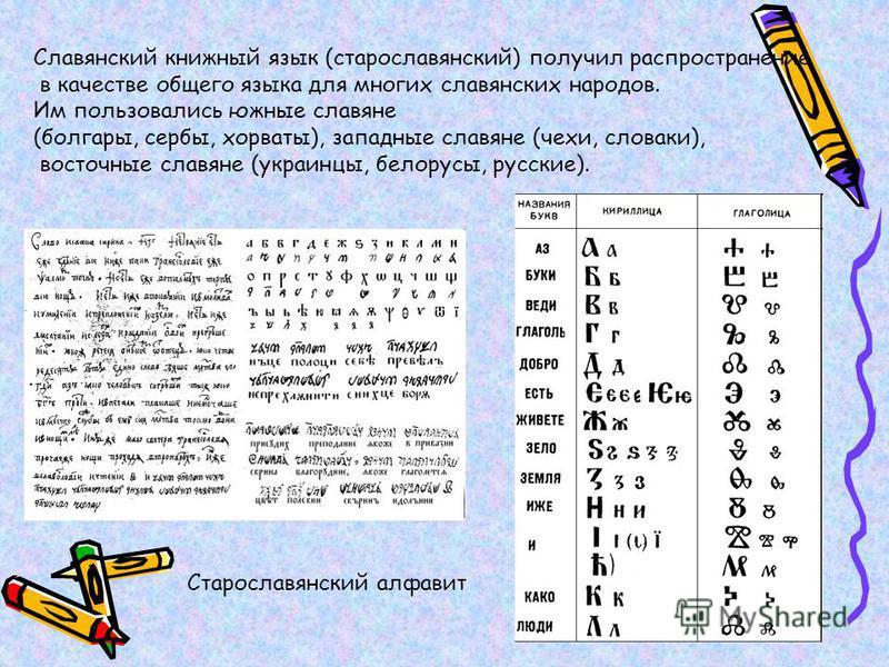 Славянский книжный язык (старославянский) получил распространение в качестве общего языка для многих славянских народов. Им пользовались южные славяне (болгары, сербы, хорваты), западные славяне (чехи, словаки), восточные славяне (украинцы, белорусы,