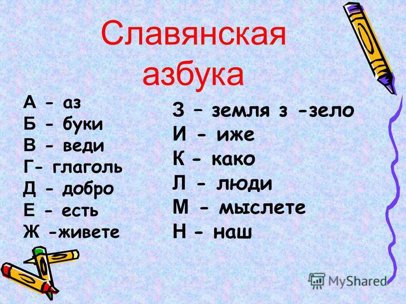 Славянская азбука А - аз Б - буки В - веди Г - глаголь Д - добро Е - есть Ж -живете З – земля з -зело И - иже К - како Л - люди М - мыслете Н - наш