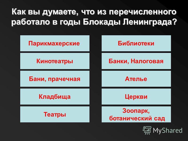 Как вы думаете, что из перечисленного работало в годы Блокады Ленинграда? Парикмахерские Библиотеки Кинотеатры Бани, прачечная Кладбища Театры Банки, Налоговая Ателье Церкви Зоопарк, ботанический сад