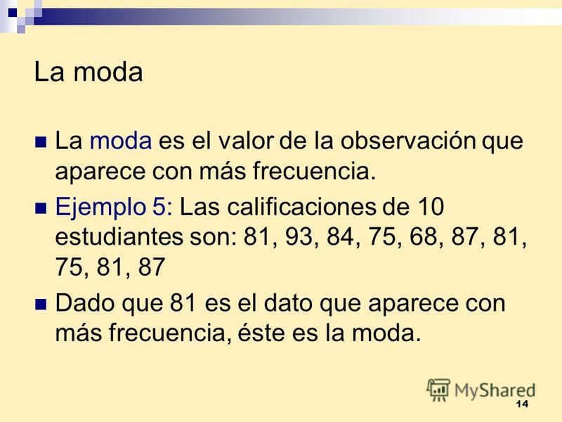 14 La moda La moda es el valor de la observación que aparece con más frecuencia. Ejemplo 5: Las calificaciones de 10 estudiantes son: 81, 93, 84, 75, 68, 87, 81, 75, 81, 87 Dado que 81 es el dato que aparece con más frecuencia, éste es la moda.