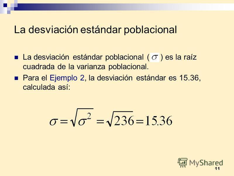 11 La desviación estándar poblacional La desviación estándar poblacional ( ) es la raíz cuadrada de la varianza poblacional. Para el Ejemplo 2, la desviación estándar es 15.36, calculada así: