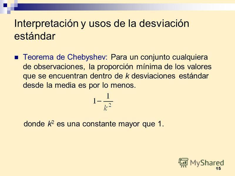 15 Interpretación y usos de la desviación estándar Teorema de Chebyshev: Para un conjunto cualquiera de observaciones, la proporción mínima de los valores que se encuentran dentro de k desviaciones estándar desde la media es por lo menos. donde k 2 e