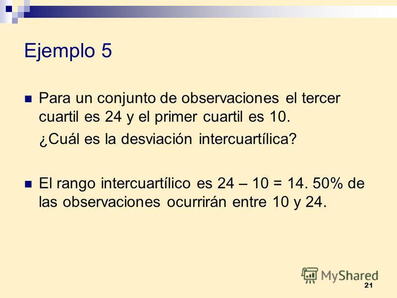 21 Ejemplo 5 Para un conjunto de observaciones el tercer cuartil es 24 y el primer cuartil es 10. ¿Cuál es la desviación intercuartílica? El rango intercuartílico es 24 – 10 = 14. 50% de las observaciones ocurrirán entre 10 y 24.