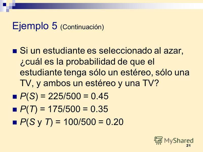 21 Ejemplo 5 (Continuación) Si un estudiante es seleccionado al azar, ¿cuál es la probabilidad de que el estudiante tenga sólo un estéreo, sólo una TV, y ambos un estéreo y una TV? P(S) = 225/500 = 0.45 P(T) = 175/500 = 0.35 P(S y T) = 100/500 = 0.20